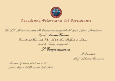Inaugurazione Anno Accademico Accademia Peloritana: ospite d'onore il prof. Massimo Cacciari @ Università degli Studi di Messina