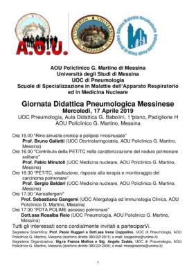 """Giornata Didattica Pneumologica Messinese @ Azienda Ospedaliera Policlinico Universitario """"G. Martino"""""""