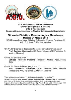"""""""Giornata Didattica Pneumologica Messinese"""" @ Aula Didattica """"G.Babolini""""- 1 piano del Padiglione H, A.O.U """"G.Martino"""""""