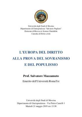 """Incontro """"L'Europa del Diritto alla prova del Sovranismo e del Populismo"""" @ Dipartimento di Giurisprudenza"""