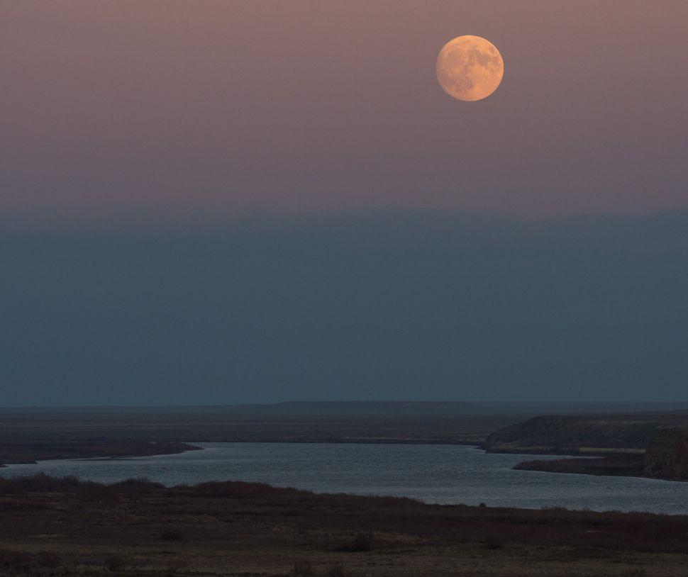 La quasi piena Superluna sorge sopra il fiume Syr Darya vicino al cosmodromo di Baikonur in Kazakistan il 13 Novembre 2016 Fonte: NASA/Bill Ingalls