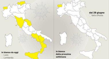 Italia sempre più bianca, mentre altrove, in Europa, si rallenta con le riaperture preannunciate