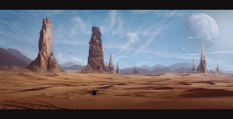rappresenatazione del pianeta deserto di Arrakis con le sue due lune